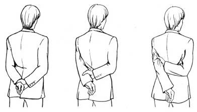 Заведя свои руки ему за спину